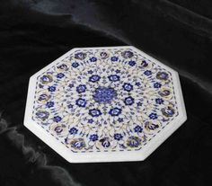 Surrealz genuine Marble pietra dura table inlaid with semi precious stones - lapis lazuli, mother of pearl