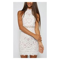 Saturday Romance White Lace Sleeveless Mock Neck Cut Out Keyhole Back... ($48) ❤ liked on Polyvore featuring dresses, white cocktail dress, short white cocktail dress, white bodycon dress, short bodycon dresses and bodycon dress
