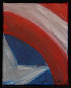 Captain America Shield Abstract Painting by ReddBowe on Etsy