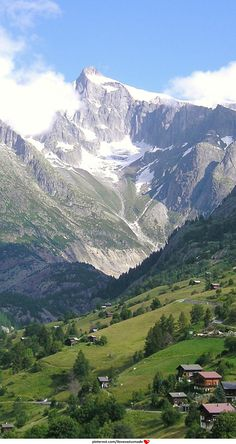 Gross Wannenhorn, located in the canton of Valais near the village of Fiesch. The mountain separates the Aletsch Glacier from the Fiescher Glacier