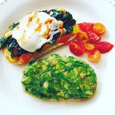 Avocado toast, tomatoes, and toasted sourdough with melted cheese, sautéed spinach, and topped with a poached egg and cholula. Can't beat a homemade breakfast! #homemade #food #breakfast #brunch #homemadefood