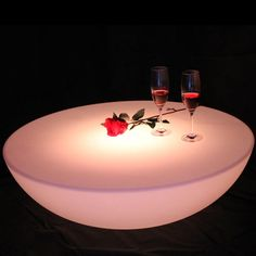 Colorful outdoor bar table set led plastic furniture battery round table SK-LF17 (D60*H20cm) Free Shipping