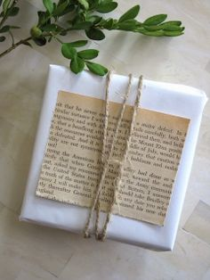 Plain paper + twine + a choice excerpt from an old book or magazine