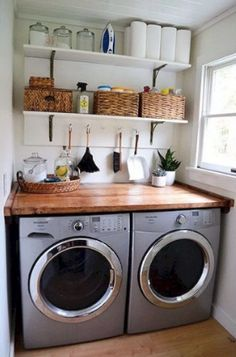 Small Laundry Room Organization Ideas Here are some awesome small laundry room storage and organization ideas. These ideas are brilliant and unique and will keep you organized. Tiny Laundry Rooms, Laundry Room Shelves, Farmhouse Laundry Room, Laundry Storage, Laundry Room Organization, Laundry Room Design, Closet Storage, Organization Ideas, Storage Ideas