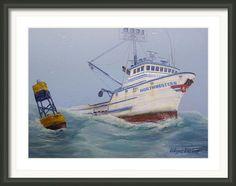 F/v Northwestern Framed Print By Wayne Enslow Artwork Prints, Framed Prints, Hanging Wire, Prints For Sale, Sailing Ships, Fine Art America, Boat, Acrylic Paintings, Wall