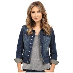 Blank NYC Distressed Denim Jacket in Toe Jam (Toe Jam) ($88) ❤ liked on Polyvore featuring outerwear, jackets, long sleeve jean jacket, distressed jacket, distressed jean jacket, vintage jackets and blue jackets