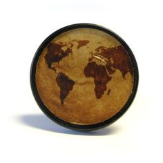 Vintage World Map Cupboard Knob