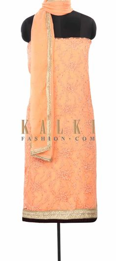 Buy Online from the link below. We ship worldwide (Free Shipping over US$100) Price- $149 Click Anywhere to Tag http://www.kalkifashion.com/peach-unstitched-suit-in-resham-embroidery-only-on-kalki.html