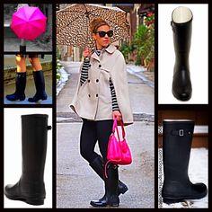1-Hour Salerain Boots Black Buckle Tall Boots