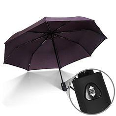 DOENR Compact Travel Umbrella Wood Bridge Sun and Rain Auto Open Close Umbrellas Portable Outdoor Folding Umbrella
