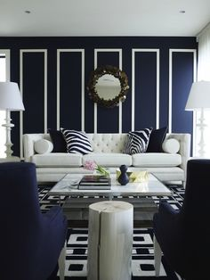 Ivory And Navy Living Rooms - Design photos, ideas and inspiration. Amazing gallery of interior design and decorating ideas of Ivory And Navy Living Rooms in bedrooms, living rooms, boy's rooms, kitchens by elite interior designers - Page 1 Navy And White Living Room, Navy Blue Living Room, Blue Rooms, Blue Bedroom, Bedroom Wall, Master Bedroom, Bedroom Furniture, Furniture Ideas, Home Living Room