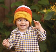 Toddler Candy Corn Hat knitting pattern Baby Sweater Knitting Pattern, Knit Headband Pattern, Poncho Knitting Patterns, Baby Hats Knitting, Free Knitting, Simple Knitting, Crocheting Patterns, Knitted Slippers, Knitted Hats