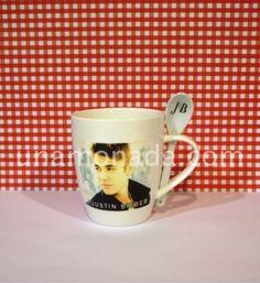 Taza mug con cuchara - Justin Bieber