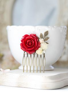 Red Wedding Hair Comb Bridal Hair Comb Bridesmaid Gift Red Rose Ivory White Flower Leaf Branch Collage Hair Comb Country Chic Garden Wedding by LeChaim on Etsy https://www.etsy.com/listing/245779548/red-wedding-hair-comb-bridal-hair-comb