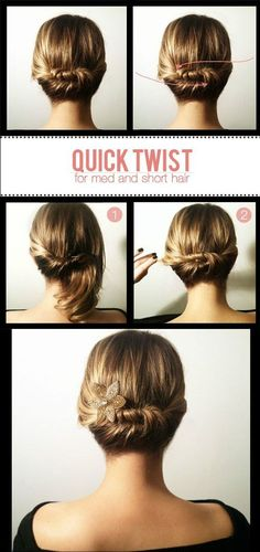 Easy Twisted Updo for Medium Length Hair