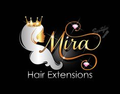 Hair Extensions Logo Hair Collection Logo Gold and silver Crown Hairstyles, Trendy Hairstyles, Hair Salon Logos, Hair Logos, Finger Wave Hair, Diamond Logo, Business Hairstyles, Luxury Logo, Color Plata