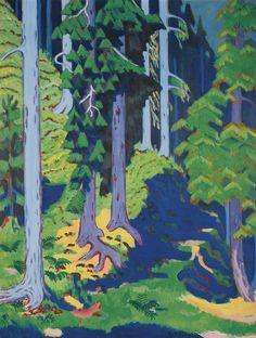 Ernst Ludwig Kirchner (German, 1880-1938)   Waldinneres [Forest interior], 1937   Oil on canvas, 178 x 135 cm.