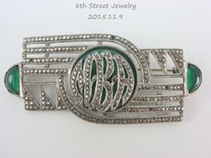 Estate-Art-Deco-Sterling-Silver-925-Chrysoprase-Marcasite-Initial-Pin-Brooch-MBA