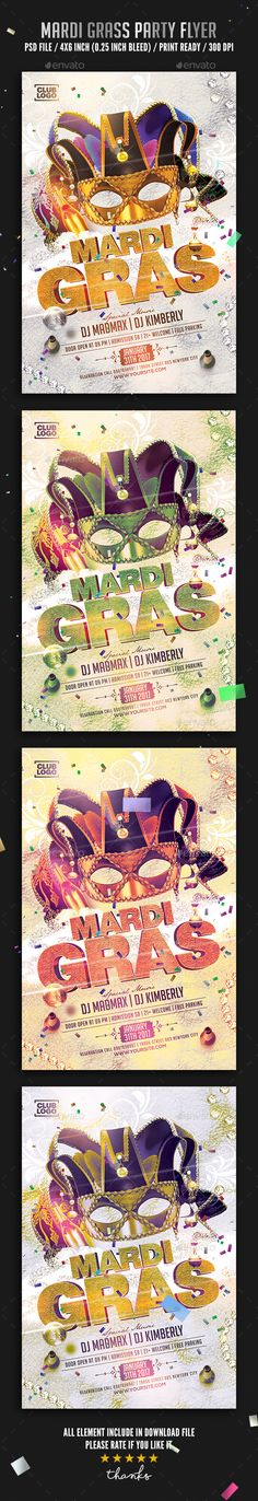 Buy Mardi Gras Carnival Flyer by Binggoo on GraphicRiver. Mardi Gras Carnival Flyer Hi All ,Flyer Specifications: Size: 4 inches x 6 inches Resolution: 300 dpi Color mode: CMY. Mardi Gras Carnival, Mardi Gras Party, Carnival Posters, New Flyer, Text Tool, Event Flyer Templates, Event Flyers, Social Media Graphics, Print Templates