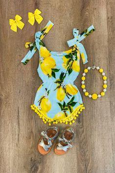 Blue Lemon Pom Pom Romper