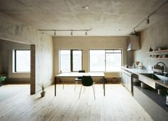 Setagaya Flat A Tokyo apartment renovation by Naruse Inokuma Architects. Plywood Kitchen, Loft Kitchen, Apartment Kitchen, Plywood Countertop, Open Kitchen, Concrete Kitchen, Kitchen Dining, Tokyo Apartment, Apartment Design