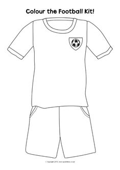 Simple printable colouring pages featuring blank football kits. Children can design and colour their own national, local or school football kits.