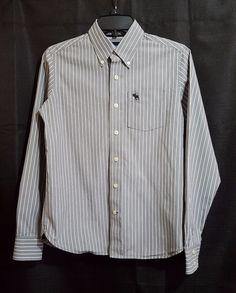 Abercrombie Boys Youth Size Large Dress Shirt Long Sleeved Gray White Stripes #Abercrombie #Dressy