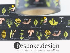 Tape flowers mushrooms leaves forest Neon Black für 2,00 EUR Washi Tapes are printed tapes made of rice paper (Japanese Washi: japan paper). The matt bands can tear by hand and stick to many surfaces, of this they can be easily removed without leaving residue. The tapes are also reusable and have in very many colors and patterns.