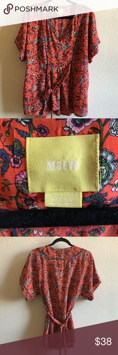 Maeve 100% Silk Floral Kimono Top Ties in the back, in like new condition and I offer 20% off any 2! Anthropologie Tops Blouses