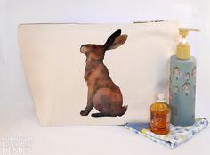 #Hare Canvas Wash Bag Large Zipper Pouch Makeup Bag Toiletry Bag Accessory Bag Ceridwen Hazelchild Design