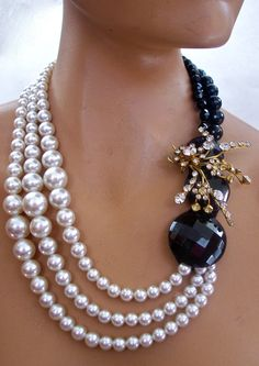 Black and White Necklace Pearls with Austrian by secondlookjewelry