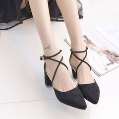 Brand: NO Shoe Type: Flat Shoes Toe Type:Point Toe Closure Type: Buckle Heel Type:Thick Heel Heel Height: 6-8cm Gender: Female Occasion: CasualSeason: Summer Autumn Color: Beige Black Grey Material: U
