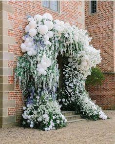 greenery and white balloons wedding entrance 7 #wedding #weddings #weddingideas #dpf
