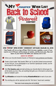 IT'S CONTEST TIME! One Fanatic will win an item off their Wish List every weekday, so pin it if you want to win it! #FanaticsWishList pinterest.com/fanatics Terms & Conditions here: http://fanaticssweeps.com/backtoschool/terms.html