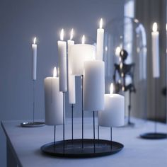 MULTI CANDLE PIN - Design by Sebastian Bergne - Candle Pin is a Mild steel candlestick designed by Sebastian Bergne for Eno Studio. Unlike the single stem Candle Pin , this one can handle up to 7 candles at different height.