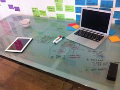 Glass tables can become whiteboards - like in smartspace?