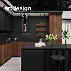 Timber Kitchen, Walnut Kitchen, Rustic Kitchen, Luxury Kitchen Design, Kitchen Room Design, Interior Design Kitchen, Black Kitchen Decor, Home Decor Kitchen, Black Kitchens