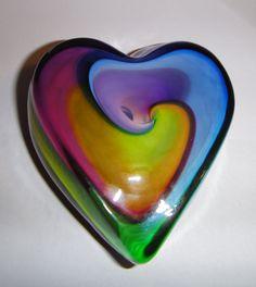 Swirled Rainbow Heart Art-Glass Paperweight♥≻★≺♥*artist?/ shop?