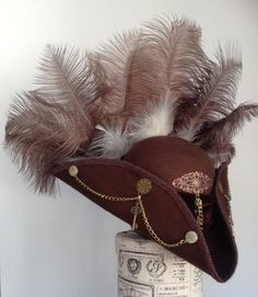Brown Steampunk Brass Tricorn cockade The Lady Ely