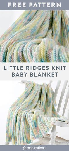 Little Ridges Knit Baby Blanket | Free Yarnspirations Knitting Pattern | Caron Jumbo Yarn | Beginner Pattern | Give a blanket that features traditional baby shades and a simple ridged, texture pattern. Caron Jumbo starts you off with a variegated shade range to choose from, so it's easy to stimulate your creativity. It's definitely a special item, whether gifting or giving to those in need. #Yarnspirations