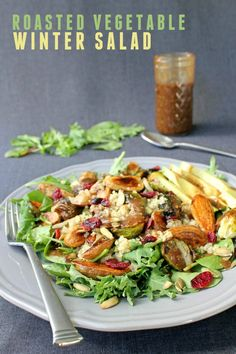 Easy Salad recipe -- Winter salad with fresh greens and roasted vegetables recipe
