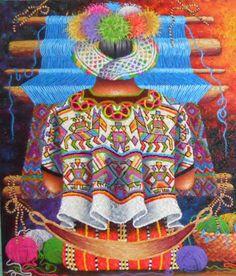 Nebaj -  LORENZO Y PEDRO ARNOLDO CRUZ SUNU - PINTORES GUATEMALTECOS South American Art, Decoupage, Bo Bartlett, Illustration Artists, Girl Illustrations, Naive Art, Mexican Folk Art, Weaving Techniques, Indian Art
