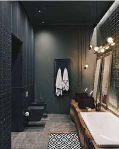 "1,841 gilla-markeringar, 14 kommentarer - Vibeke J Dyremyhr (@interior_delux) på Instagram: ""Dark and beautiful  #bathroom #bathroomdesign #tiles #baderom #interior_delux Design by Alesya…"""