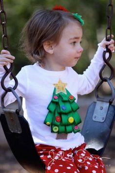 Christmas tree ribbon shirt