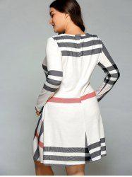 Plus Size Vertical Striped Comfy T-Shirt Dress (OFF-WHITE,XL) | Sammydress.com Mobile