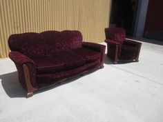 Vintage Carved Art Deco Sofa Couch and Armchair Vintage Furniture