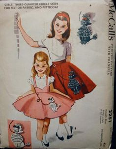 Vintage Girls Three Quarter Circle Poodle Skirt And Petticoat Sewing Pattern