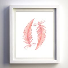 INSTANT DOWNLOAD: Coral Pink Feathers Printable Art  **This item is a DIGITAL download item, NO PHYSICAL item will be shipped to your address. HOW