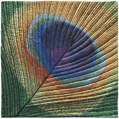 "Workshop by Susan Brubaker Knapp: ""Paint and Stitch: Peacock Feather"".  Painted on fabric, then stitched with black thread."