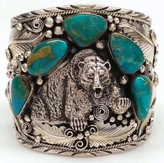 Native American Sterling Silver & Turquoise Bear Leaf Cuff